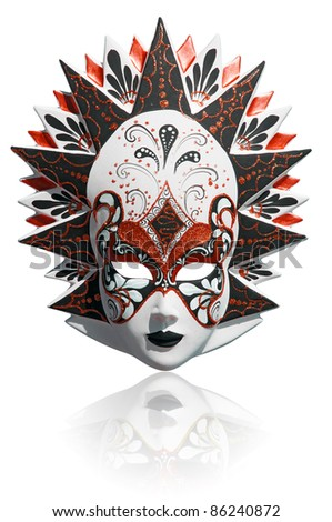 Gold traditional venetian carnival mask isolated on white. Venice, Italy. - stock photo