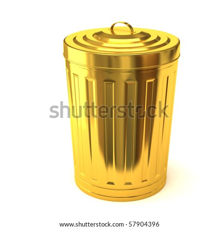Gold trash can - stock photo