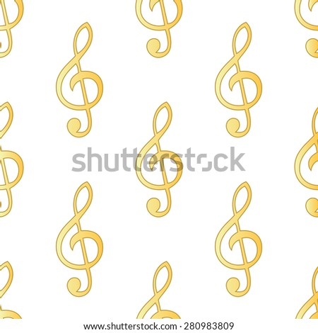 Gold treble clef repeated on white background