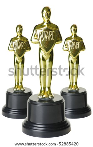 gold trophies on white background with path. - stock photo