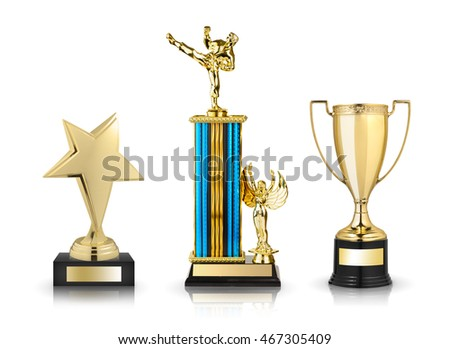 Gold trophies set isolated on white background