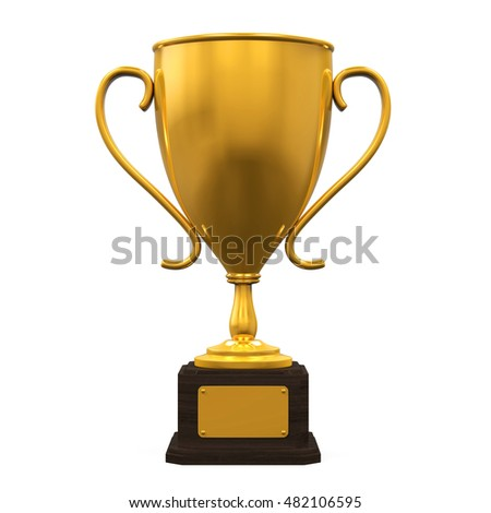 Gold Trophy Cup. 3D rendering