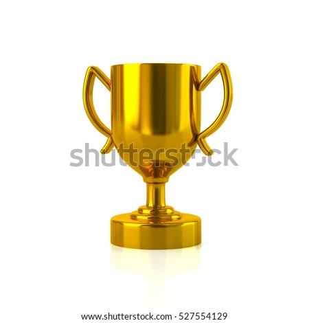 Gold trophy cup 3d rendering on white background