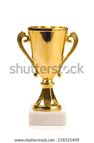 Gold trophy cup isolated on white background - stock photo
