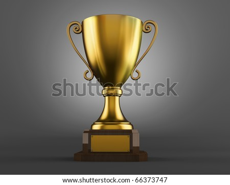 Gold trophy cup on a grey background - stock photo