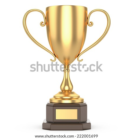 gold trophy cup on a white background - stock photo
