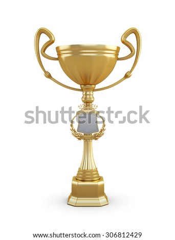 Gold trophy cup on a white background. 3d render image.