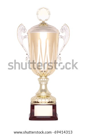 Gold trophy cup on white background - stock photo
