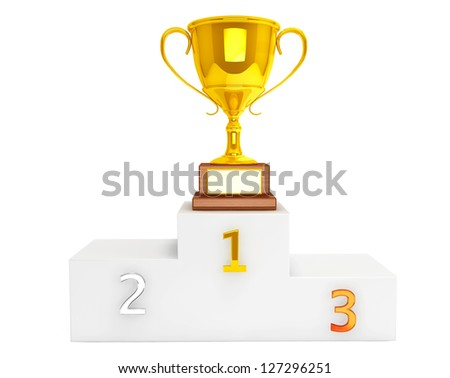 Gold Trophy Cup over pedestal on a white background - stock photo