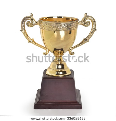 Gold trophy for champion cup isolated on white background. This has clipping path. - stock photo