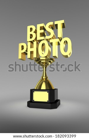 Gold trophy for the winner of a Best Photo, Photography - stock photo