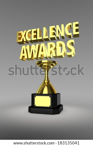 Gold trophy for the winner of a Excellence Awards  - stock photo