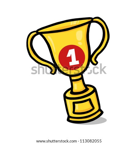 Gold Trophy Illustration; Gold Trophy Cup Drawing - stock photo