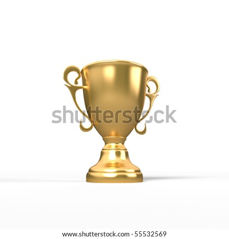 Gold trophy on white background on white background