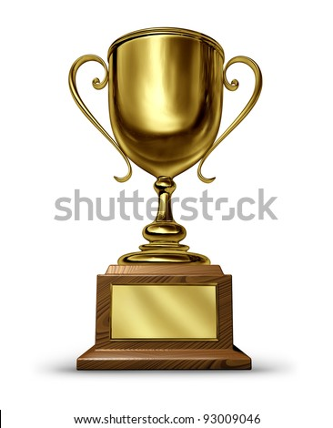 Gold Trophy with a blank metal plaque on a white background as a success concept for winning and being first and the best in a sports competition or a business leader that is a victorious champion.
