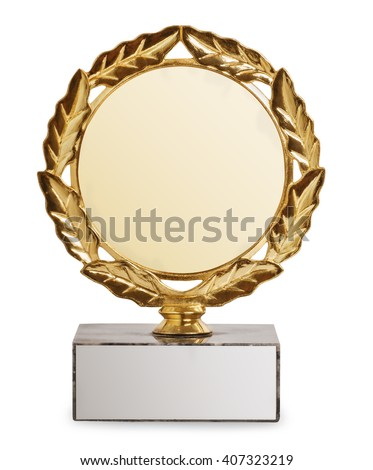 gold trophy with laurel wreath isolated on white background. Sports award. Champion cup - stock photo