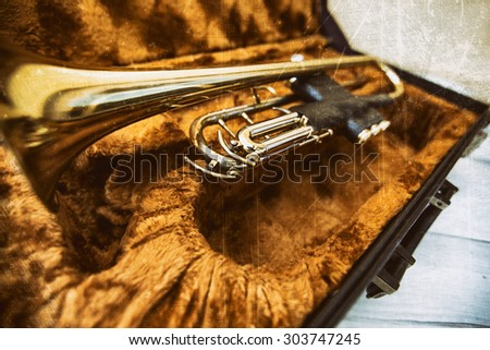 Gold trumpet in case - stock photo