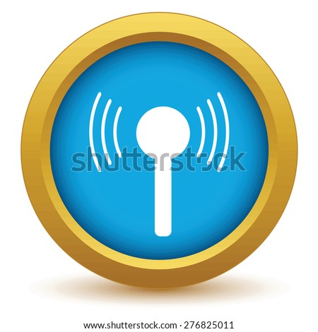 Gold TV tower icon on a white background - stock photo