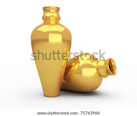gold vases isolated over white background - stock photo