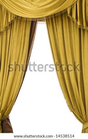 Gold velvet curtains - stock photo