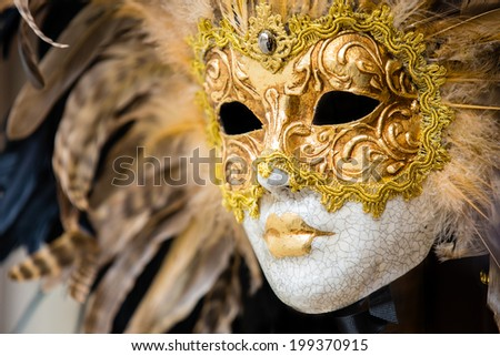 Gold venetian mask in Venice, Italy