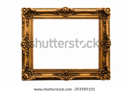 Gold vintage frame isolated on white background - stock photo