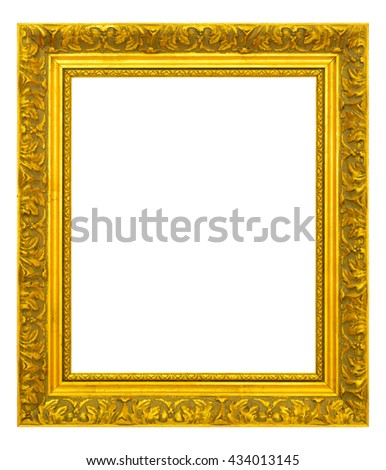 Gold vintage frame isolated on white background.