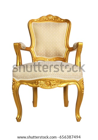 Gold VIntage Luxury Elegant Chair. Louis Retro Armchair. Wooden Chair With  Leather Pad.