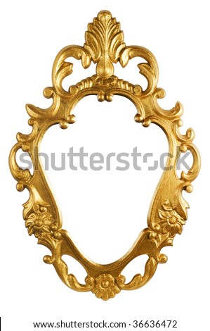 gold vintage metal frame isolated on white (with clipping path) - stock photo