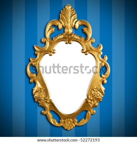 gold vintage metal frame on wall - stock photo