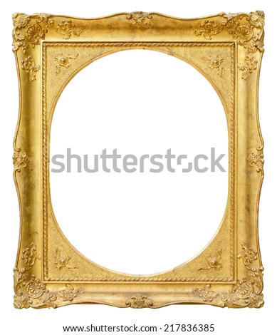 Gold vintage oval frame isolated on white background - stock photo