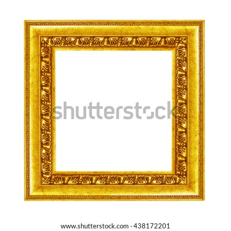 Gold vintage picture and photo frame isolated on white background