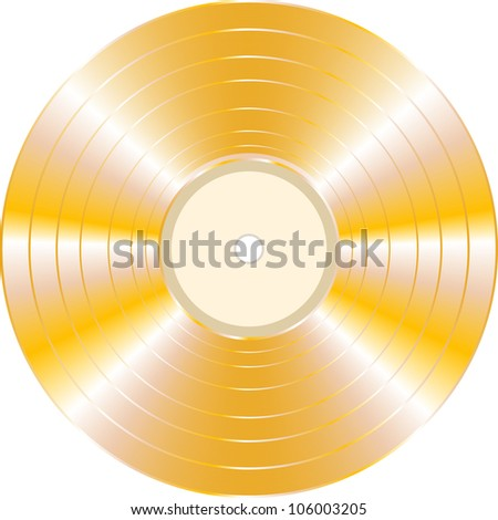 gold vinyl record isolated on white background. Raster - stock photo