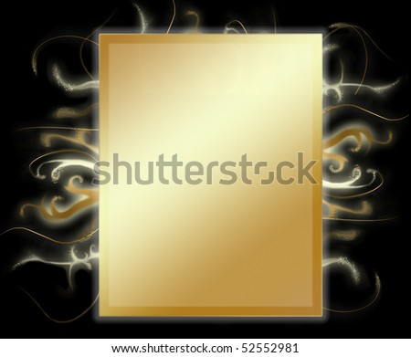 gold wallpaper with decoration on black background