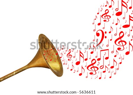Gold warning trumpet with red music notes. - stock photo