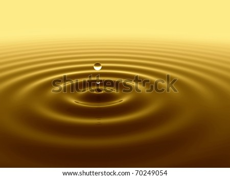 Gold water drop - stock photo