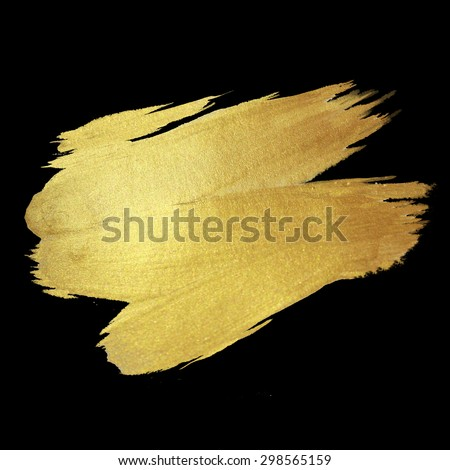 Gold watercolor texture paint stain abstract illustration. Shining brush stroke for you amazing design project - stock photo