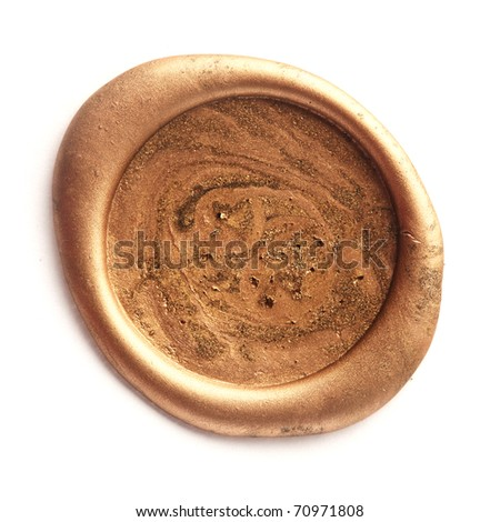 Gold wax seal isolated on white - stock photo