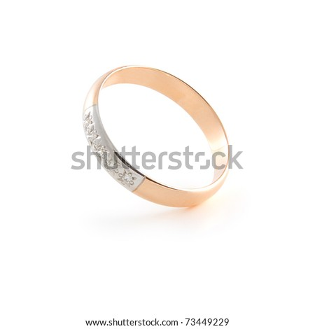 Gold wedding ring on white background with soft shadow. Isolated path included - stock photo