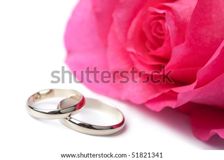 Gold wedding rings and pink rose isolated