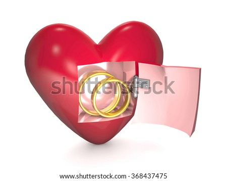 Gold wedding rings are into red heart on white background. - stock photo
