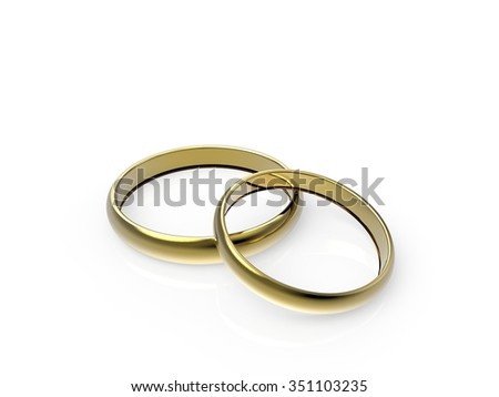 Gold wedding rings. 3d render on a white background
