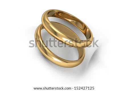 gold wedding rings (high resolution 3D image) - stock photo