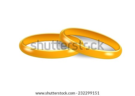 Gold wedding rings isolated on white.