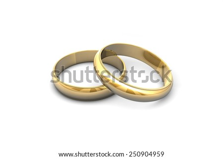 Gold wedding rings isolated on white background. - stock photo