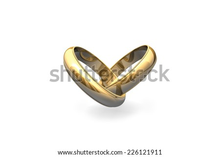 Gold wedding rings isolated on white batskground (heart-shaped).  - stock photo
