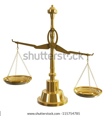 Gold Weight Scale on background, high quality render - stock photo