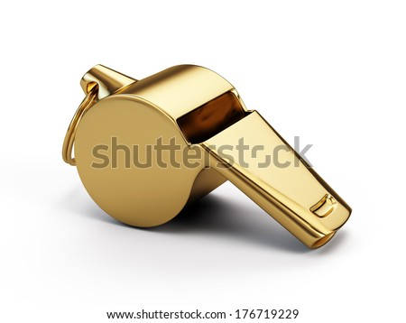 Gold whistle isolated on white - stock photo