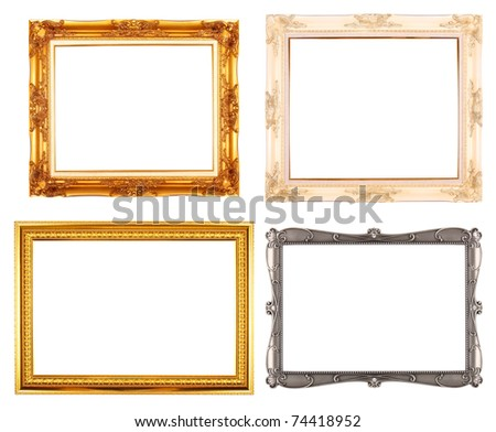 Gold, White plated wooden & Silver metal art picture frame isolate (horizon) - stock photo