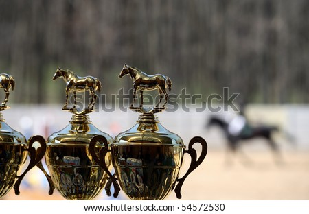 Gold winner cup for equestrian sport ( rider on horse background) - stock photo